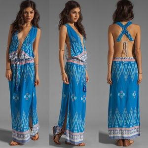 Indah Revolve NYX Maxi Dress Blue Endek Open Back
